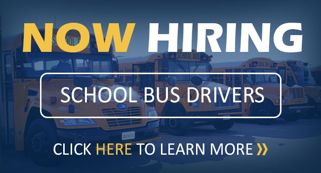Now Hiring: School Bus Drivers. Click here to learn more